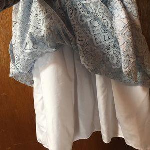 5 blue lace eyelet dress with underslip
